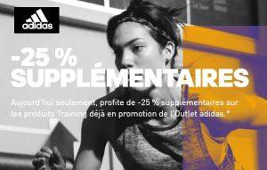 25% remises supplémentaires sur le Training Adidas Outlet