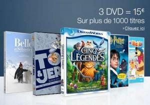 3 DVD jeunesse pour 15 euros