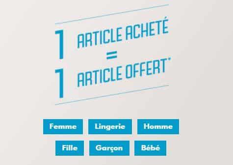 Bon plan Gémo : 1 article acheté = 1 article offert
