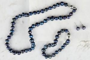 parure de bijoux perles noir