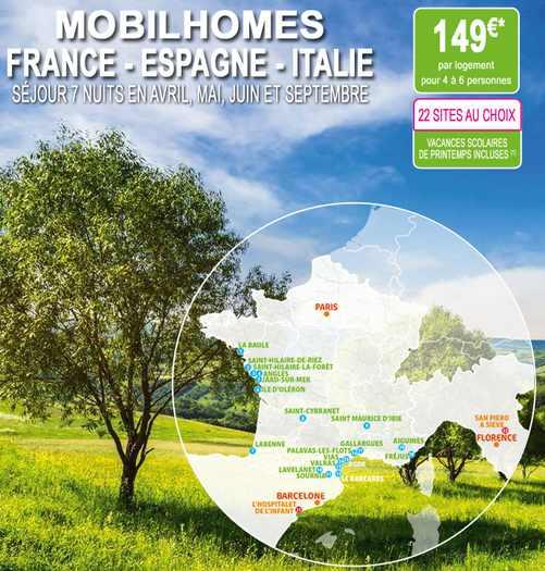 séjour en mobil-homes à 149 euros sur Auchan Voyages
