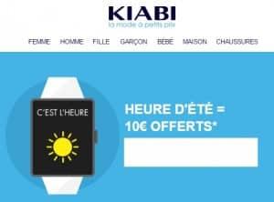 10€ offerts pour le changement d'heure KIABI