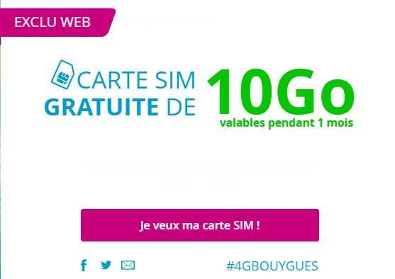 Gratuit carte sim avec 10go 4g bouygues telecom sans - Code promo amazon frais de port gratuit ...