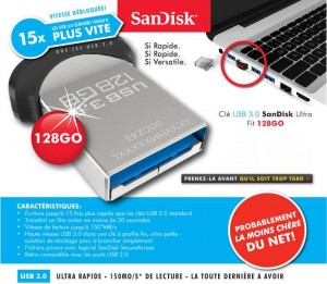 clé USB 128 go ultra fit de SanDisk