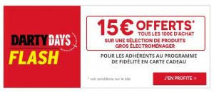 Gros Electroménager Darty : 15€ offert tous les 100