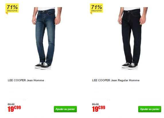 Jeans Lee Cooper pas chers