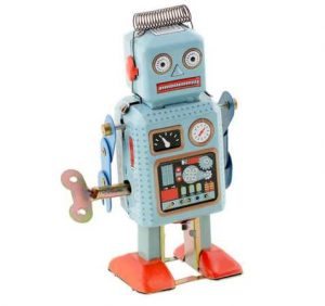 Jouet robot mécanique Vintage Metal
