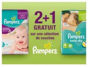 Offre Pampers 2 achetés = 1 offert sur Auchan