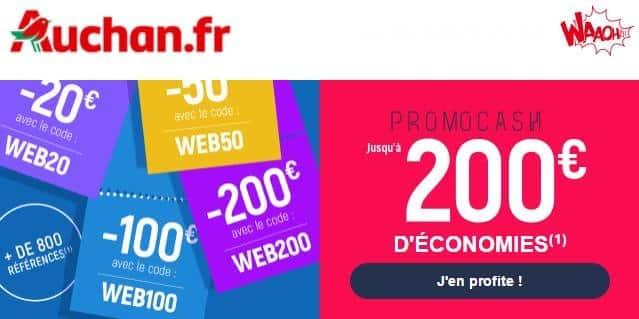 PROMOCASH AUCHAN : jusqu'a 200 euros de remises