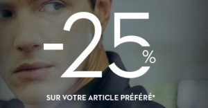 25% de rabais que Brice offre sur l'article de votre choix