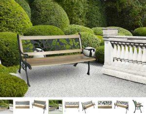banc de jardin en bois et fonte