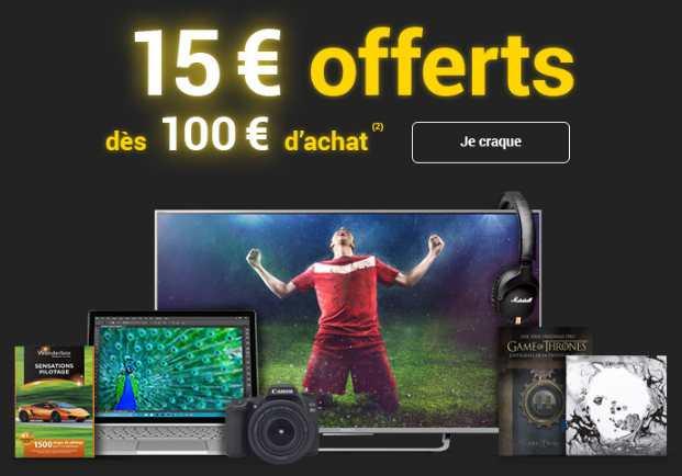 15 euros dès 100 euros sur la FNAC