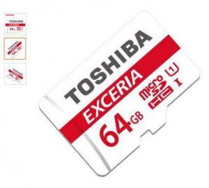 Moins de 13€ la carte microSDXC 64Go Toshiba Exceria