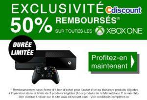 consoles Xbox One 50% remboursés sur Cdiscount