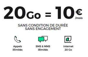 10€ le forfait mobile RED SFR 20Go