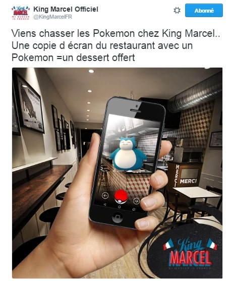 1 pokemon go chass 1 dessert gratuit chez king marcel. Black Bedroom Furniture Sets. Home Design Ideas