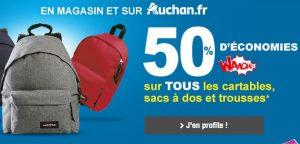 Rentrée scolaire Auchan : 50% sur la carte pour l'achat de sac, cartable ou trousse