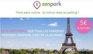 5€ la journée dans tous ses parkings ZenPark de Paris