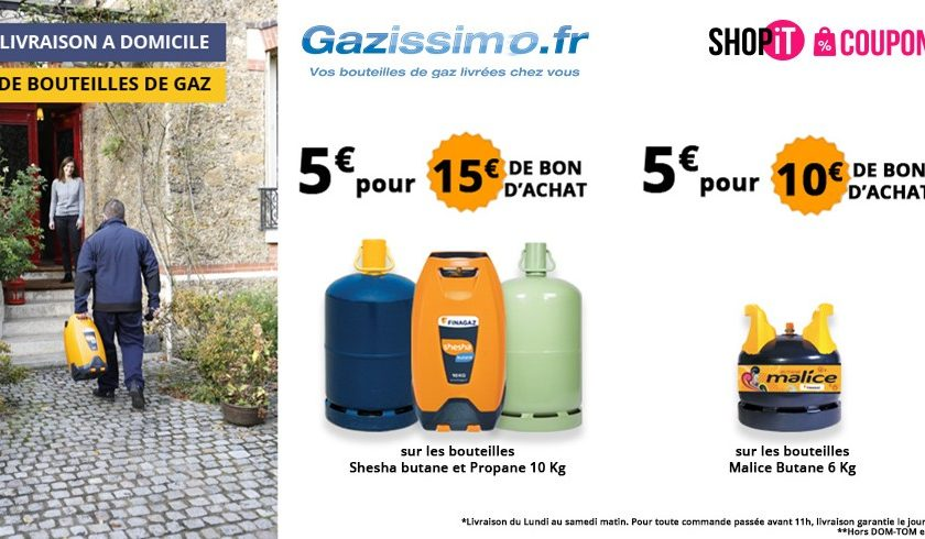 Bon d'achat livraison de bouteilles de gaz Gazissimo