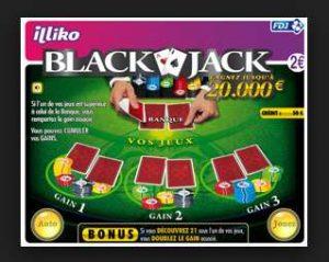 1€ la carte à gratter illiko Black Jack