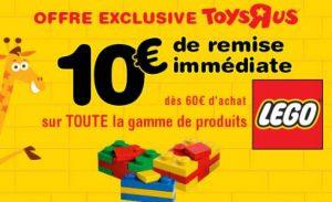 10€ de remise sur tout Lego dès 60€ d'achat sur Toys'R US
