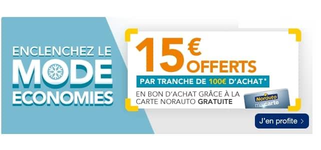 15€ offert tous les 100€ d'achats sur Norauto