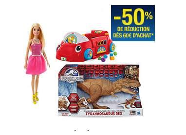 50% sur les jouets dès 60€ d'achat sur Auchan