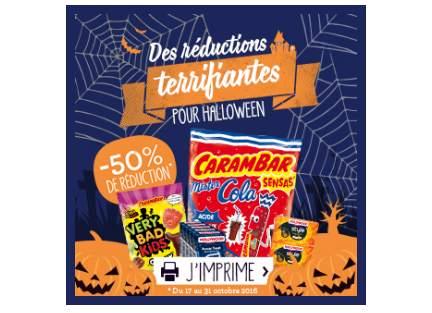 Carambars et Hollywood à moitié prix coupons de réduction Halloween