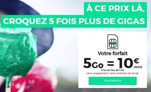 Forfait RED by SFR (sans engagement) 10€ les 5Go