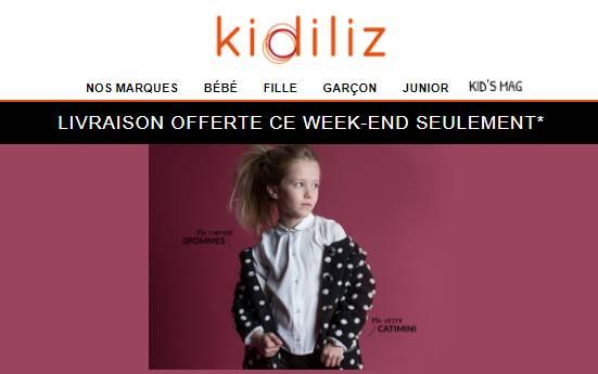 Livraison gratuite sur Kidiliz sans mini