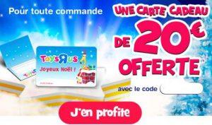 100€ d'achats = 1 carte cadeau de 20€ offerte sur Toys'R US