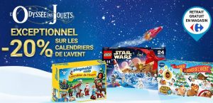 20% sur les calendriers de l'avent Lego, Playmobil, Vtech et Cars