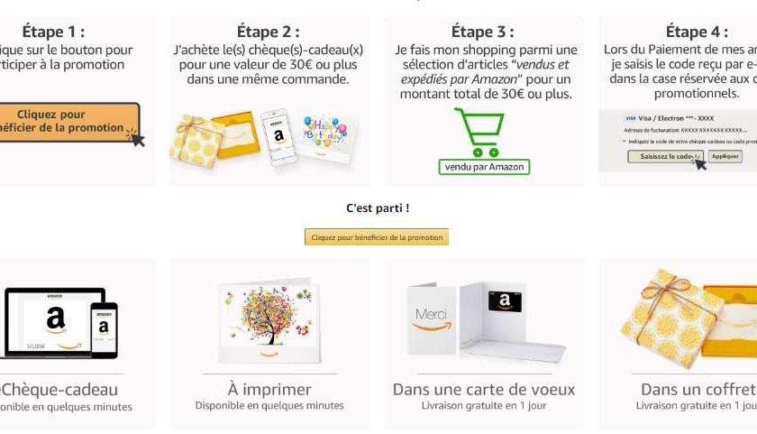 30€ en chèque-cadeau Amazon acheté 6€ offert