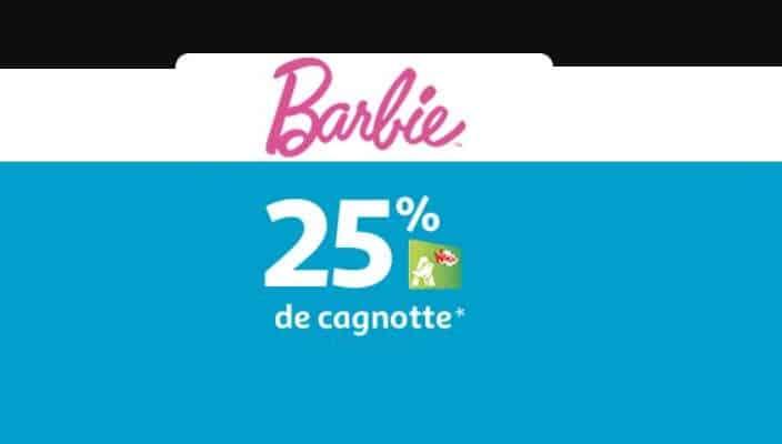 Barbie 25% crédité sur votre carte Auchan