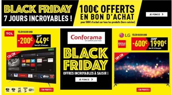 100€ offerts dès 500€ d'achats pendant la semaine Black Friday Conforama