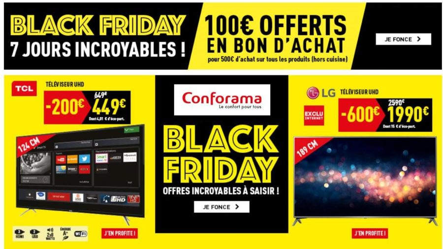 100 offerts d s 500 d achats la semaine black friday conforama. Black Bedroom Furniture Sets. Home Design Ideas