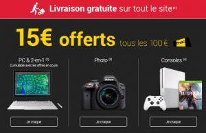 Console, PC & Photo FNAC = 15€ offerts tous les 100€ d'achats