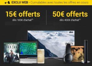 FLASH FNAC : 15€ offerts dès 100€ ou 50€ offerts dès 400€