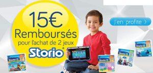 2 jeux Storio achetés = 15€ remboursés