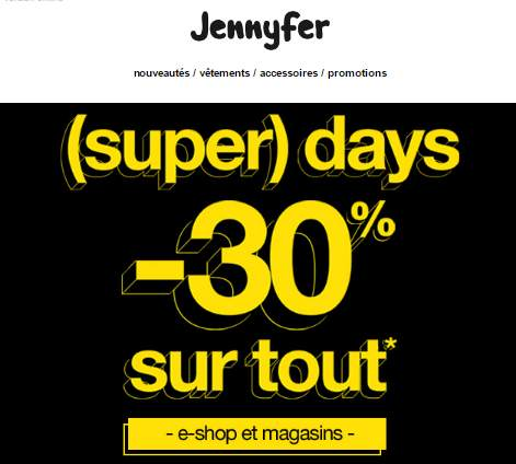 (Super) Black Friday Jennyfer 30% de remise