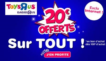 Aujourd'hui seulement Toys'R US offre 20€ pour 100€ d'achat