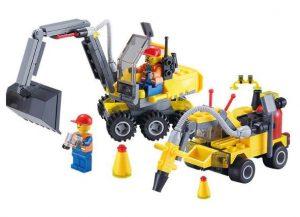 Véhicules de chantier + personnages type Lego à moins de 8€