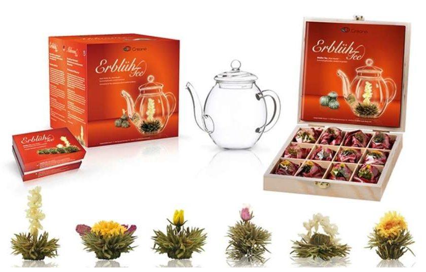 coffret fleurs de thé + théière