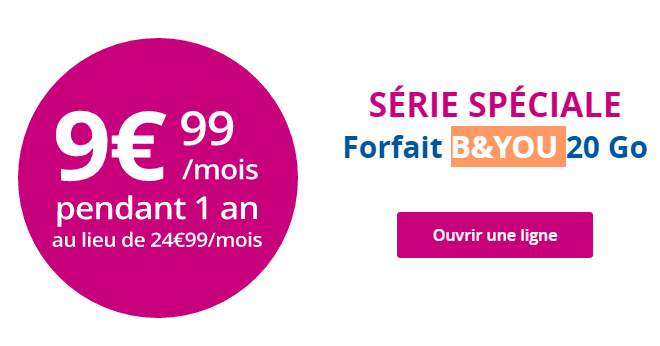 9 99 mois le forfait 20go b you de bouygues telecom au lieu de 24 99. Black Bedroom Furniture Sets. Home Design Ideas