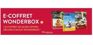 1 coffret cadeau Wonderbox (mini 60€) = 1 e-coffret de 29,90€ gratuit