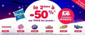 1 jouet acheté = le second à -50% + livraison gratuite