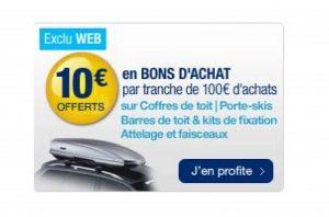 10€ tous les 100€ par Norauto sur les coffres de toit