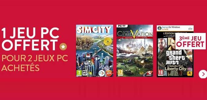 2 jeux vidéo PC achetés = le troisième gratuit