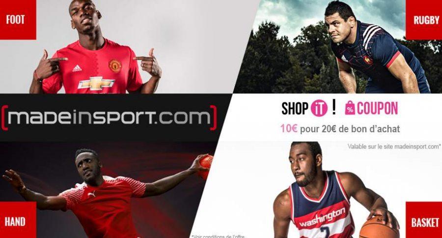 Bon d'achat Made In Sport à moitié prix