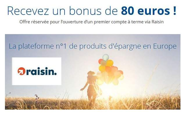 Compte épargne Raisin : 80€ offert